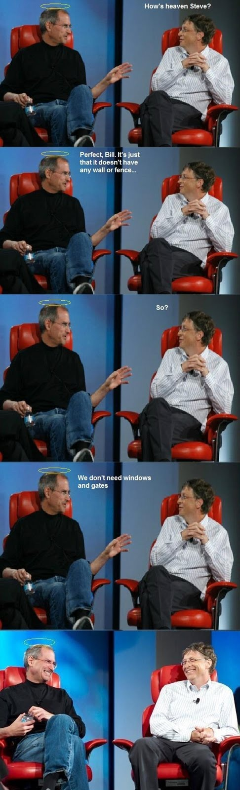 steve jobs and bill gates taking about heaven