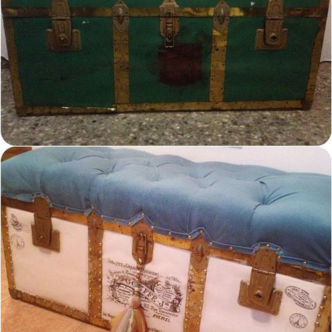 ➡️ Restauración completa de baúl antiguo 👏🏻💣💥 ANTES Y DESPUÉS   Restauramos muebles y objetos antiguos , consultanos! 📲 Facebook: /calacas.deco  📩 calacas.deco@gmail.com    #handmade #baul #vintage #deco #restauracion #design #capitone #pana #myjob