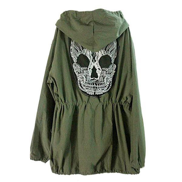 New Hot! Women Back Skull Army Green Jacket Loose Hooded Coat Outwear