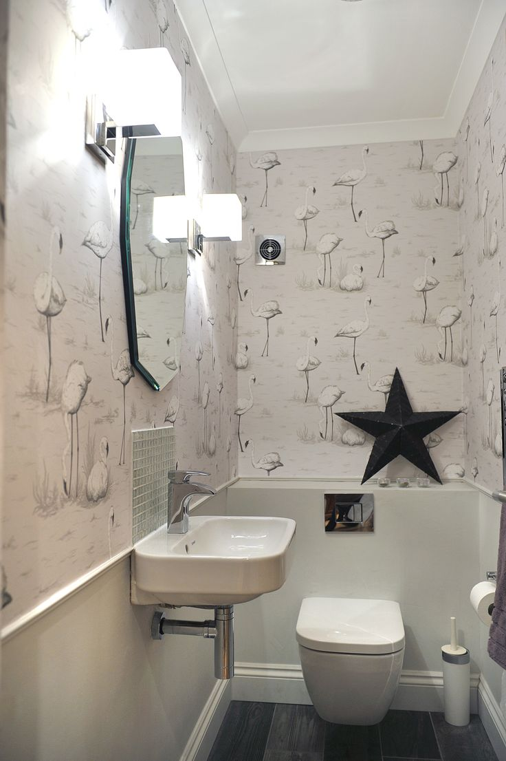 Downstairs loo, French Grey, contemporary room.  Cole & Son Flamingo wallpaper