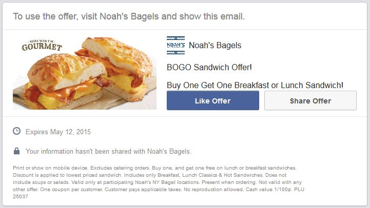 Pinned May 1st: Second sandwich free at #Noahs Bagels #coupon via The #Coupons App