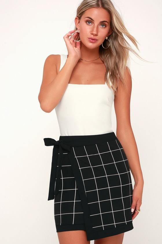 860f7c84bf #EnvyWe #Lulus - #Lulus Grid Manners Black and White Grid Print Wrap Mini  Skirt - Lulus - EnvyWe.com