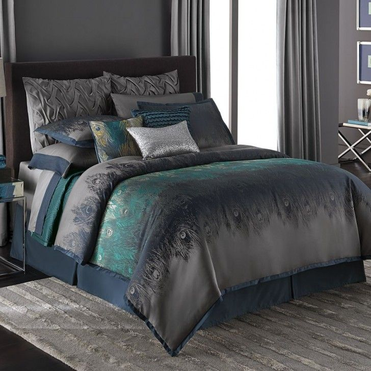 Elegant style Bedroom Decor with Peacock Feather Teal Queen Comforter Set, Comforter Set Queen, and Chrome Side Table - Kohls Bedspreads And Comforters