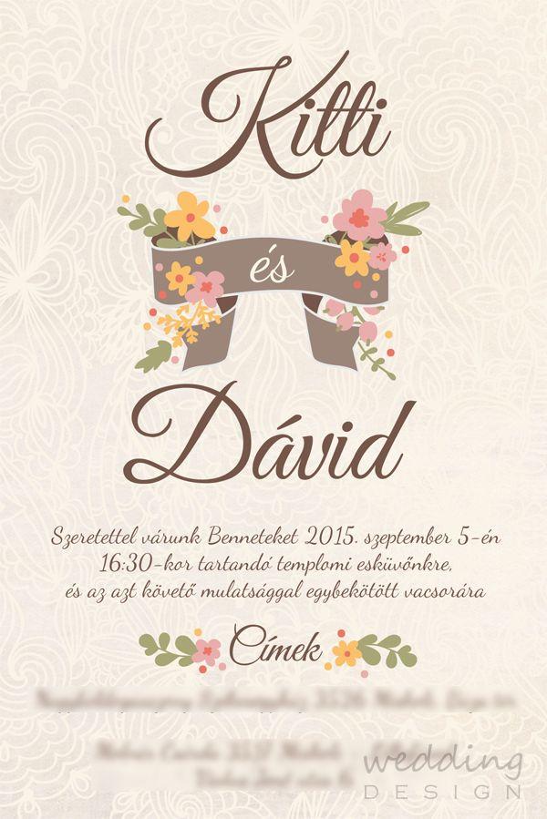 Vintage wedding invitation card - Vintage esküvői meghívó Graphic/Grafika:Wedding Design