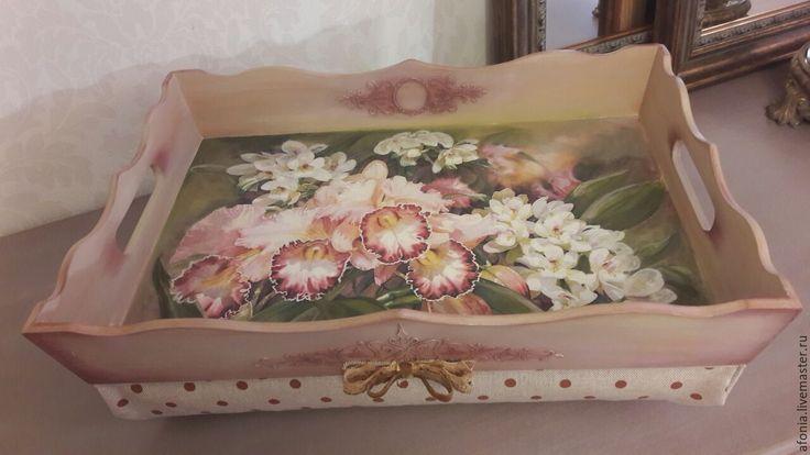 """Купить Поднос"""" Орхидеи"""" - поднос, подносы, поднос для кухни, поднос декупаж, поднос деревянный"""