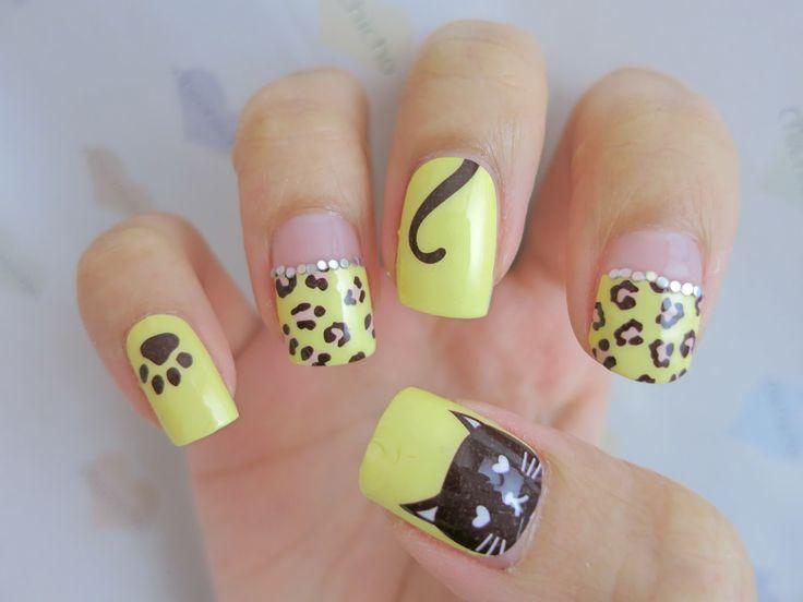 Leopard Print and Cat Nail Art Nail Wrap D1036 | chichicho~ nail ...