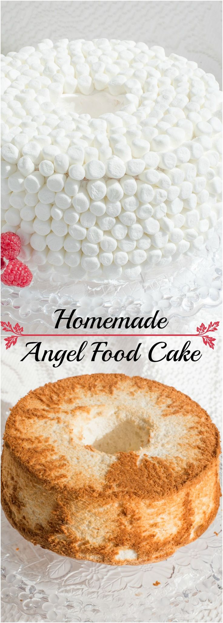 Homemade Angel Food Cake is so light and fluffy, tastes amazing you may never buy a box mix again! Decorate with mini marshmallow and buttercream frosting.