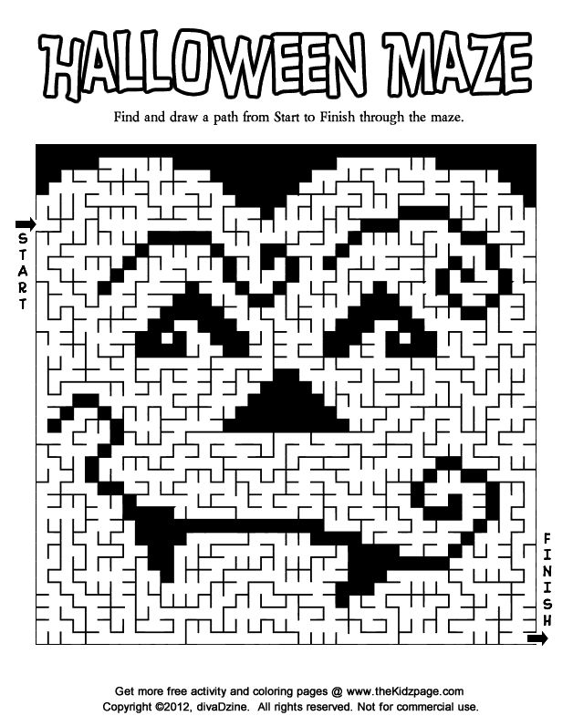 halloween maze 2 printable colouring sheets - Halloween Printable Crafts For Kids 2