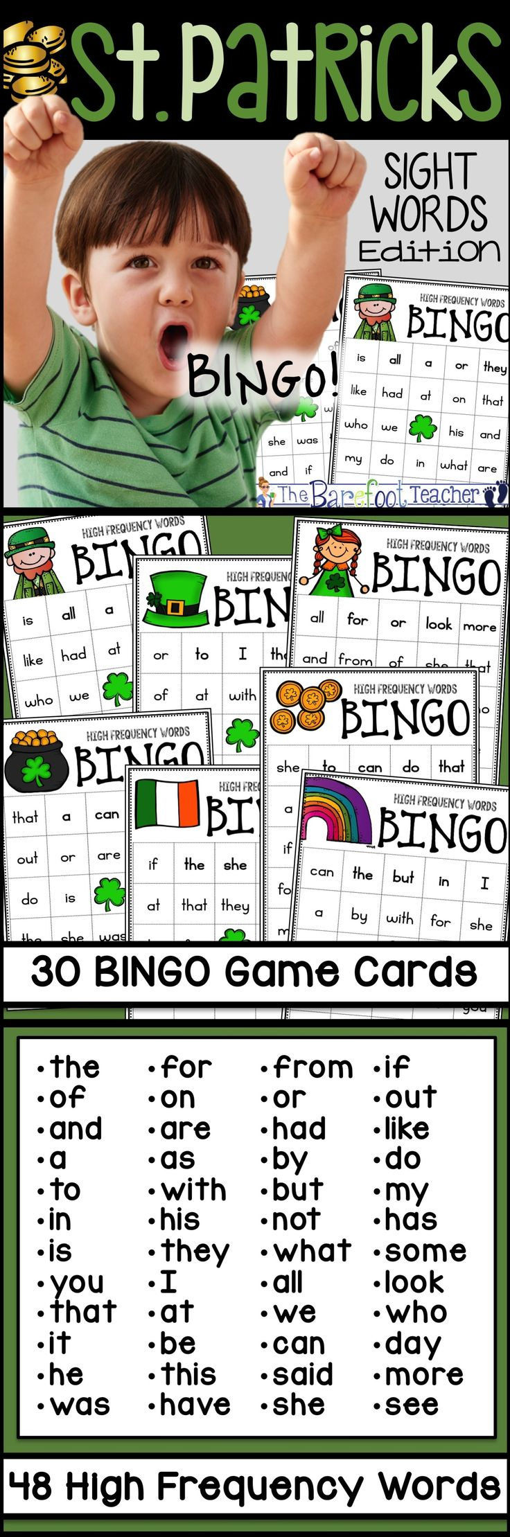 """St. Patricks Day Sight Words Game: Everyone loves playing BINGO! There's nothing more thrilling than placing that final chip on your card and yelling """"BINGO!""""   This St. Patricks Day themed BINGO includes 30 different game cards, each with its own St. Patricks Day themed picture at the top. The shamrock picture in the middle serves as a FREE spot.   The 48 large sized calling cards make it easy for students to read as you call each word. Reinforcing sight words even more!"""