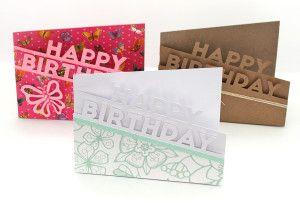 Bird: Happy Birthday Edge Card x 3 FREE Cut File
