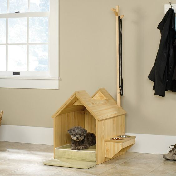 Sauder Inside Dog House - Your pup is going to love the Sauder Inside Dog House. This durable engineered wood dog house has a classic peaked roof design with built-in spot for ...