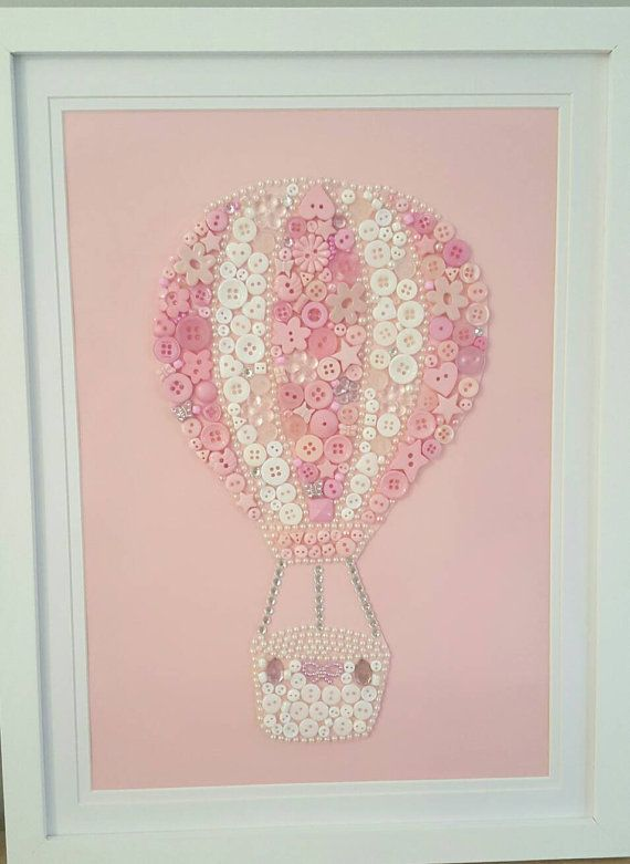 Hot Air Balloon Picture Button Art Nursery Pink and White
