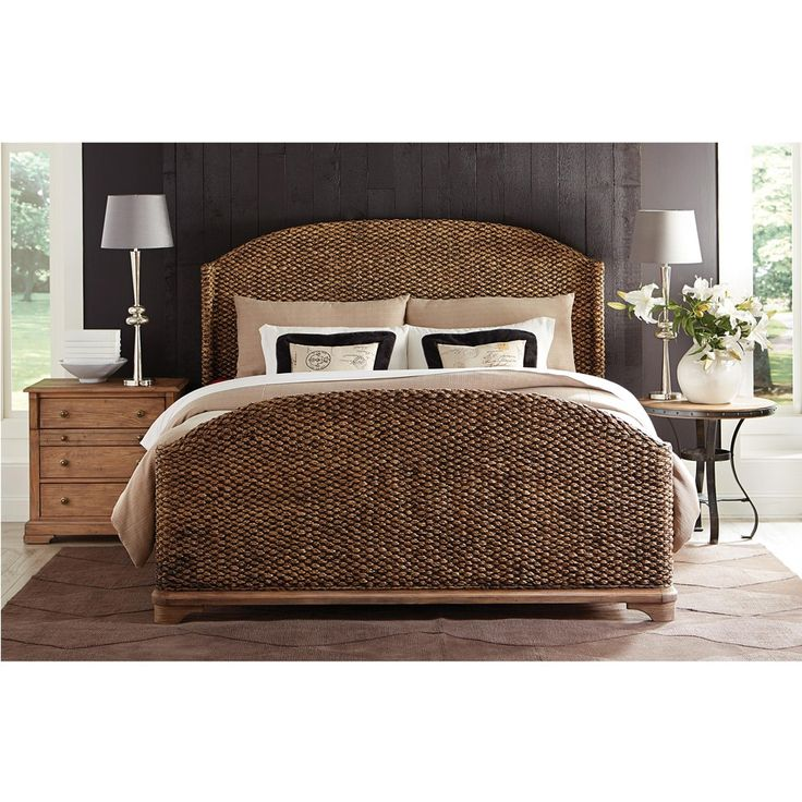 riverside sherborne seagrass woven bed in toasted pecan by humble abode featuring a subtle - Seagrass Headboard