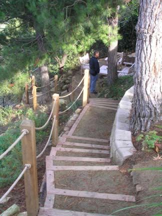 Hillside Walking Path Garden Stairs Outdoor Handrail