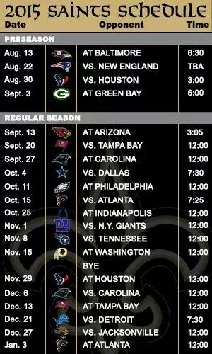 2015 New Orleans Saints Schedule. Well, it could be worse. Definitely not the easiest schedule