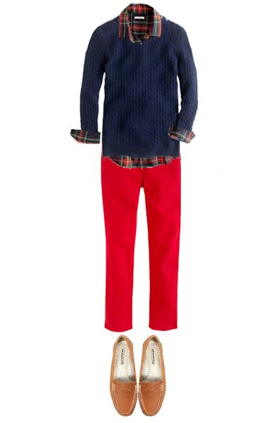 Blue sweater + red jeans + flannel or tartan shirt + Oxfords or flats