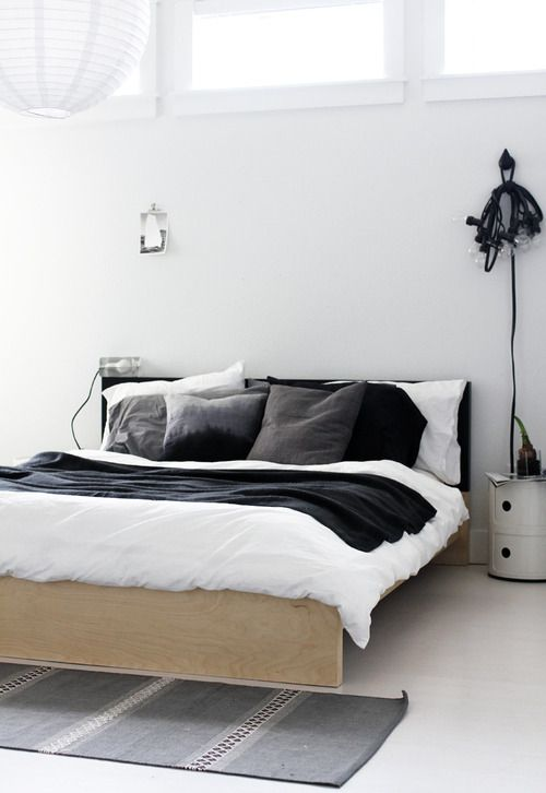 Hanging lights white grey bed sheets home bedroom for Grey minimalist bedroom