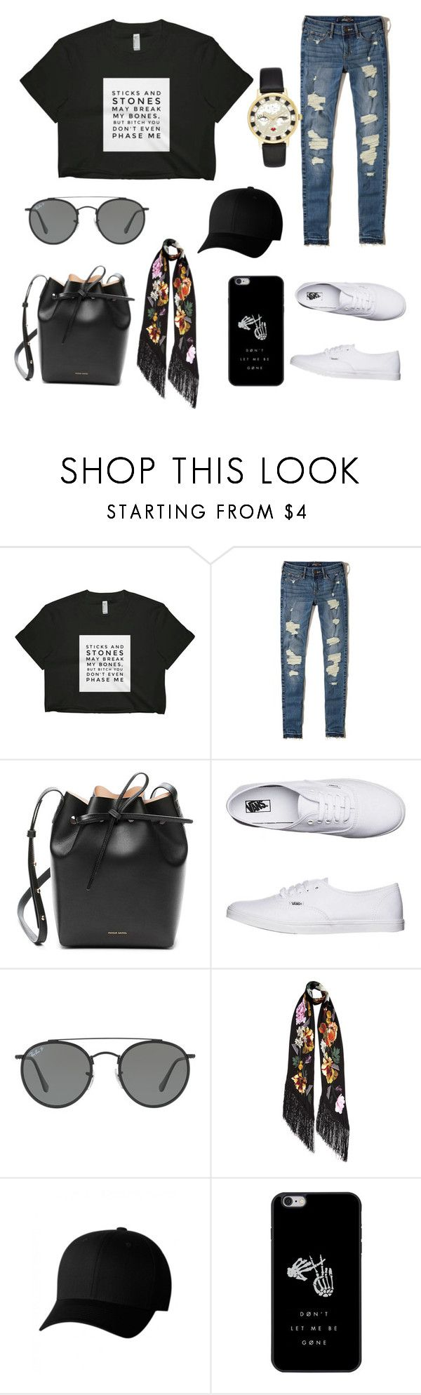 """""""Untitled #1"""" by dita-putri ❤ liked on Polyvore featuring Hollister Co., Mansur Gavriel, Vans, Ray-Ban, Rockins, Flexfit and Kate Spade"""