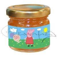 Βαζάκια με μέλι για βάπτιση με την αγαπημένη μας Πέππα και το όνομα του παιδιού σας μέσα σε μπαλόνι.    #meli_peppa