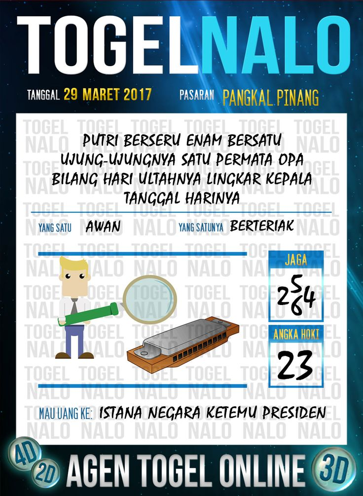 Kode Jitu 6D Togel Wap Online TogelNalo Pangkal Pinang 29 Maret 2017