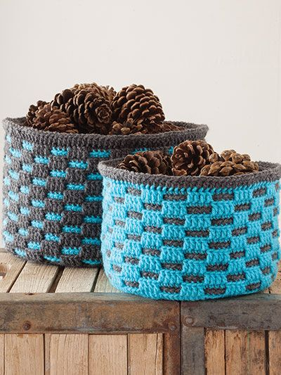 Crochet a checker basket pattern in large or smaller sizes