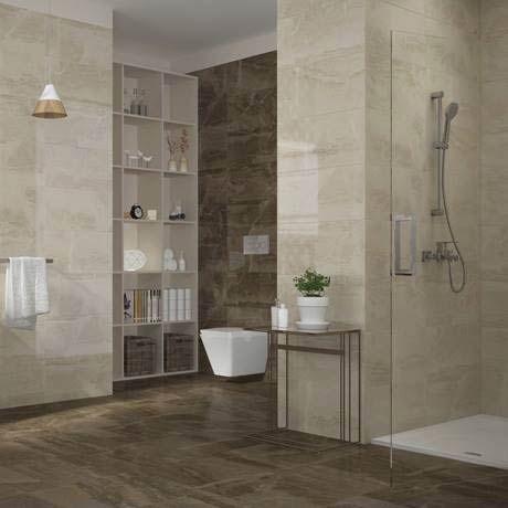 gio brown gloss marble effect wall tiles - 30 x 60cm