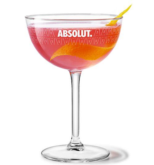 ABSOLUT COSMOPOLITAN ~ 4oz. absolut citron // 1oz. fresh lime juice // 1 ½oz. triple sec // 2oz cranberry juice. Combine in ice filled shaker, strain and serve.