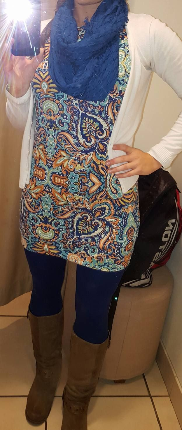 LuLaRoe paisley Julia over leggings, cardigan, scarf and boots