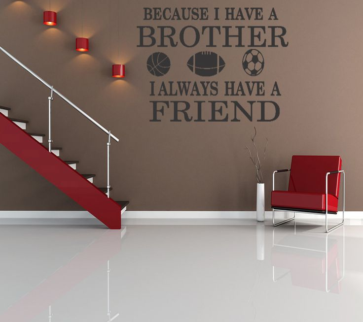 Brothers Friends Kid Room Sports Decor Wall Quote Decal Removable Letters (B125). $15.99, via Etsy.