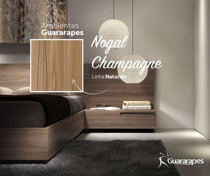 MDF Nogal Champagne   Quarto Nogal Champagne   Linha Naturale   MDF Guararapes #MDF #decoraçãoMDF #decoração #DesignInteriores #padrõesMDF #homedecor #decoração #quarto #peçasMDF #guardaroupamdf