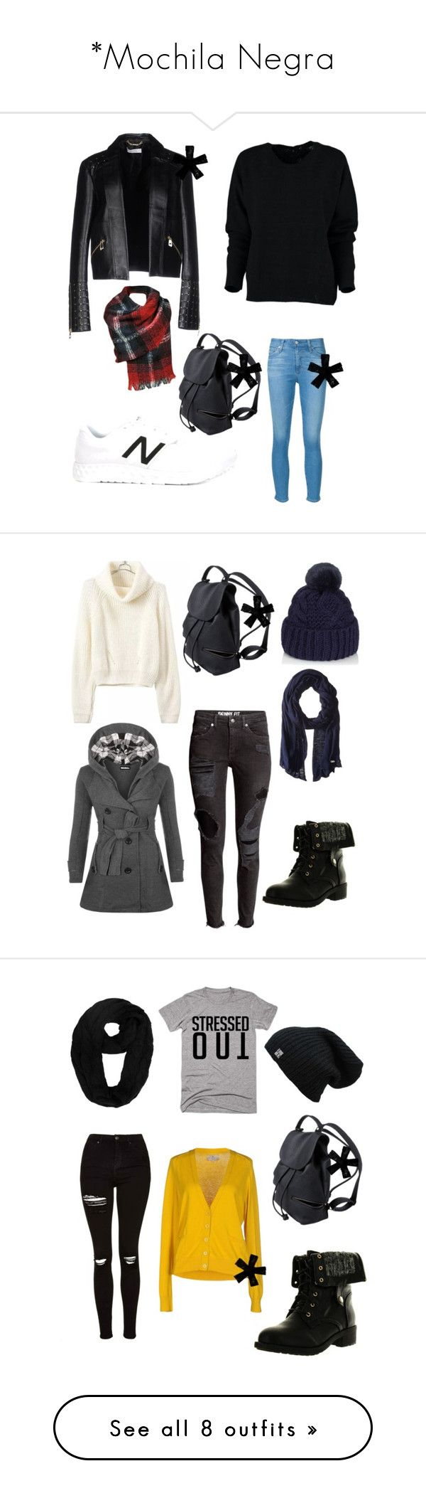 """""""*Mochila Negra"""" by camiorazi on Polyvore featuring bags, backpacks, knapsack bags, rucksack bag, backpacks bags, day pack backpack, moda, New Balance, AG Adriano Goldschmied y Versace"""