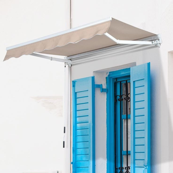 """Outsunny 78"""" Manual Retractable Door & Window Awning - Beige"""