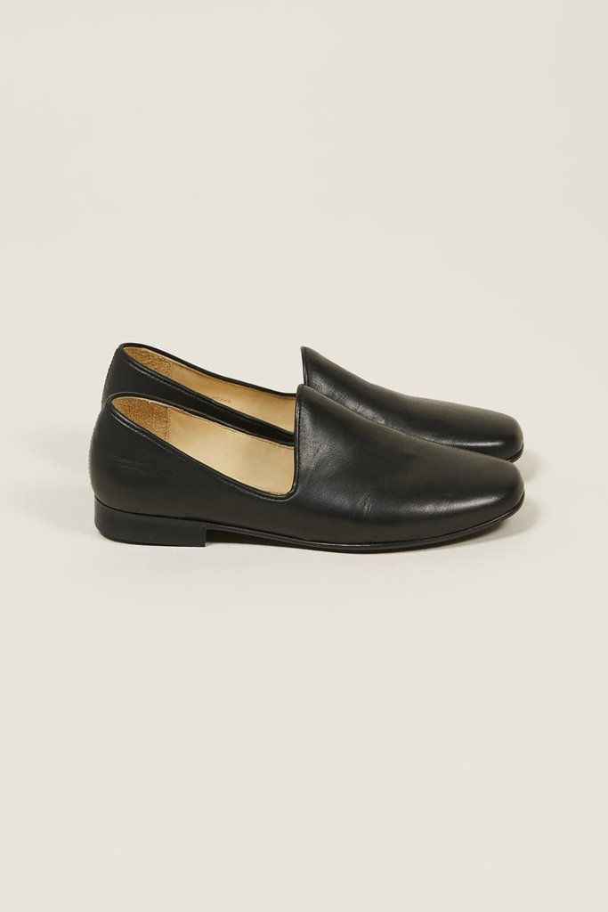 Soft black leather loafers. Square toe and buffed leather. Tonal leather stitching and sole.   100% Lambskin Made in Portugal
