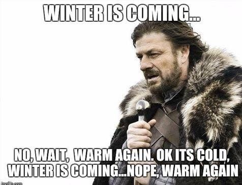 Va weather...5 degrees, nope it's 80 again, wait it's 20 degrees again...now 10 again, dammit