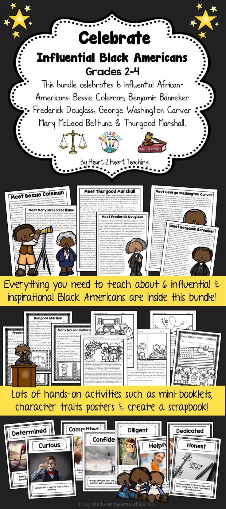 Learning about influential and inspirational Black Americans has never been more fun! This BUNDLE has a variety of activities to celebrate and learn about six influential African-Americans: Bessie Coleman, Benjamin Banneker, Frederick Douglass, George Washington Carver, Mary McLeod Bethune, and Thurgood Marshall. This BUNDLE has it all!