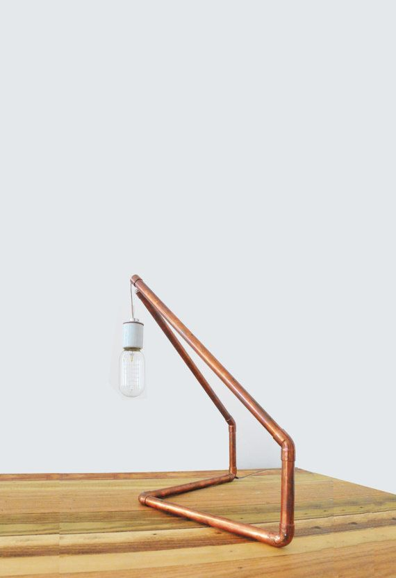 Copper Tube Geometric Table Lamp by CRFTWRKS on Etsy, $130.00