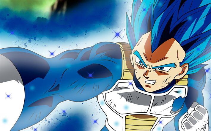 Download wallpapers 4k, Super Saiyan Blue, warrior, Dragon Ball Super, manga, DBS, Dragon Ball