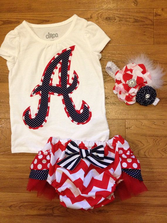 Atlanta Braves infant girl outfit with shirt headband and ruffle butt diaper cover