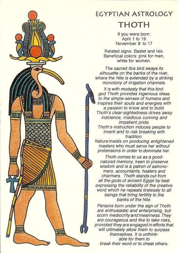 Zodiac Unlimited Egyptian astrology postcard: Thoth
