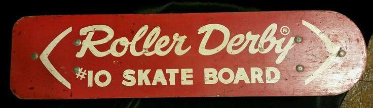 Vintage 1960's Wooden Roller Derby #10 Skate Board w/ Steel Wheels