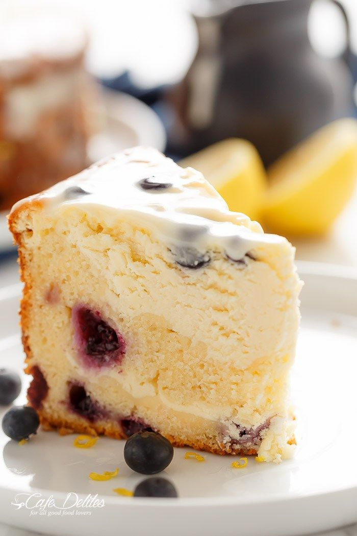 Blueberry Lemon Cheesecake Cake | A blueberry cake scented with lemon underneath a creamy and fluffy cheesecake, baked in the one pan! The first of it's kind!