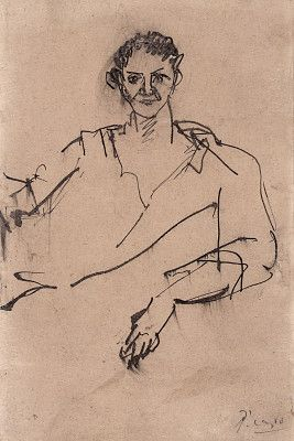 """Pablo Picasso,""""Young Man [verso],"""" c. 1906, pen and black ink on wove paper, The Armand Hammer Collection, © 2012 Estate of Pablo Picasso/Artists Rights Society (ARS), New York #drawing #figuredrawing"""
