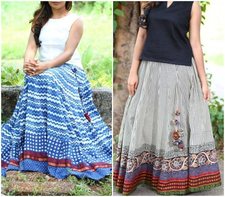 Printed Long skirts with tassels