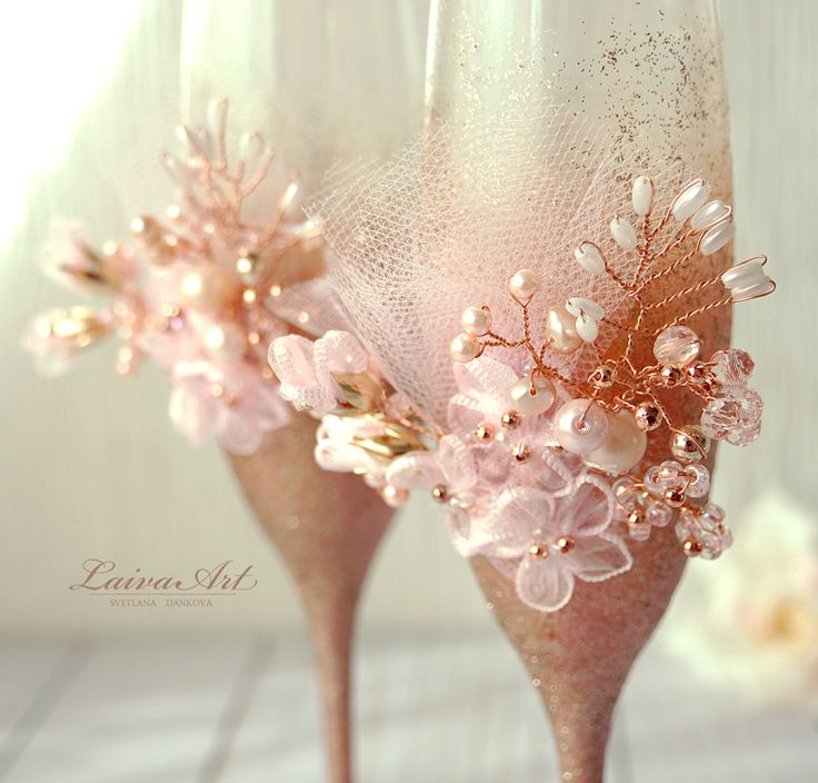Rose  Gold Wedding Champagne Glasses Wedding Champagne Flutes Gold and Pink Toasting Flutes Toasting Glasses by LaivaArt on Etsy