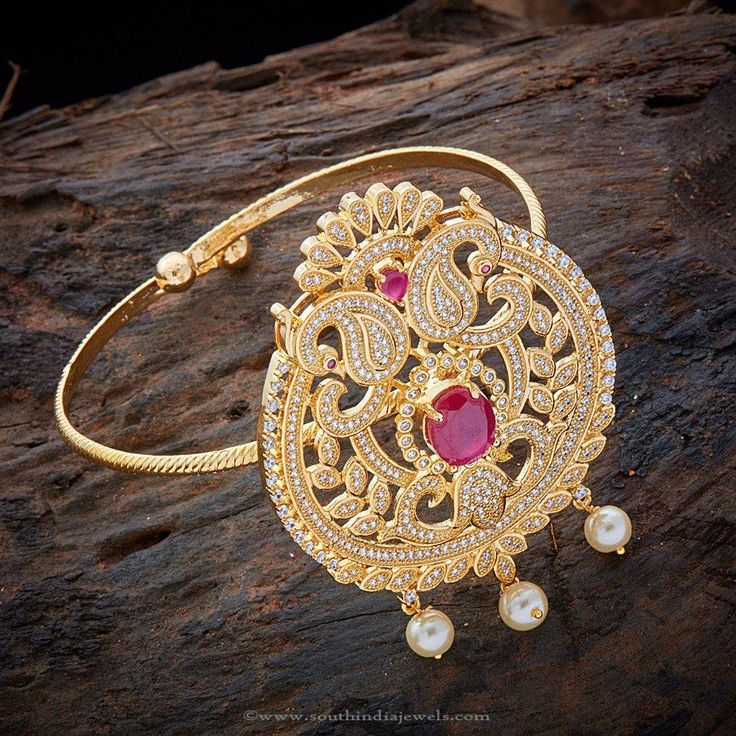 Gold Plated CZ Bajuband Designs, Gold Plated Armband Designs, Gold Plated Armlet…