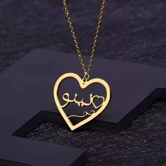 Romantic Heart Necklace Custom Name Necklace Women Personalized Nameplate Pendant Choker Stainless Steel Jewelry Gifts
