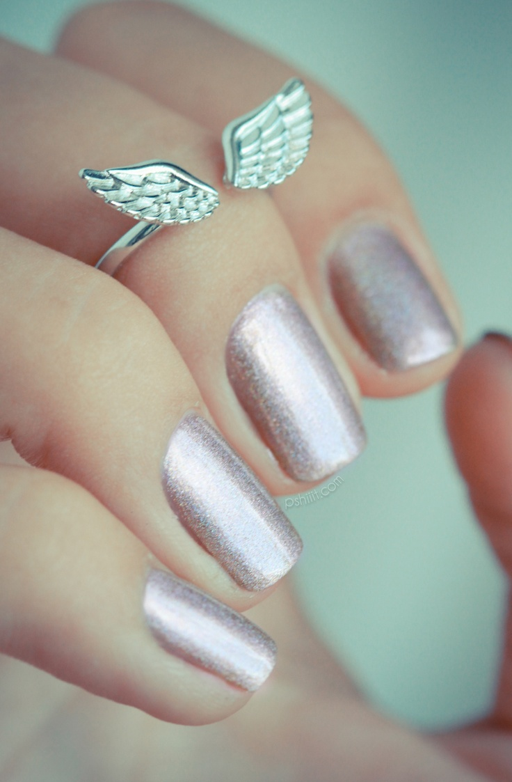 Beautiful Shimmery Polish: Love the angel wing ring