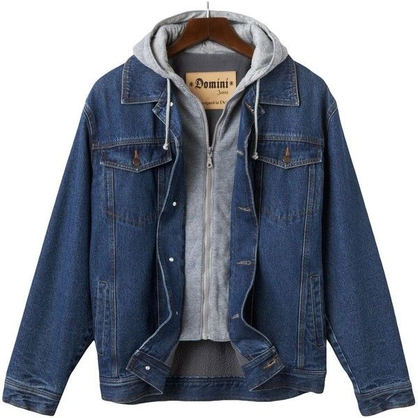 Men's Domini Hooded Denim Jackets ($40) ❤ liked on Polyvore featuring men's fashion, men's clothing, men's outerwear, men's jackets, jackets, blue, mens blue jean jacket, mens lined jean jacket, mens denim jacket and mens jackets
