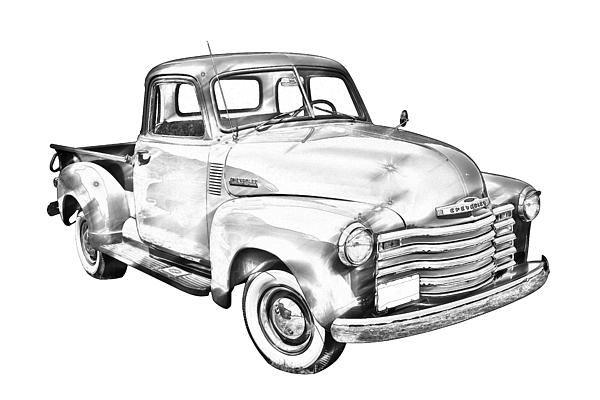 vintage 1947 chevrolet thriftmaster antique pickup truck digital illustration canvas print