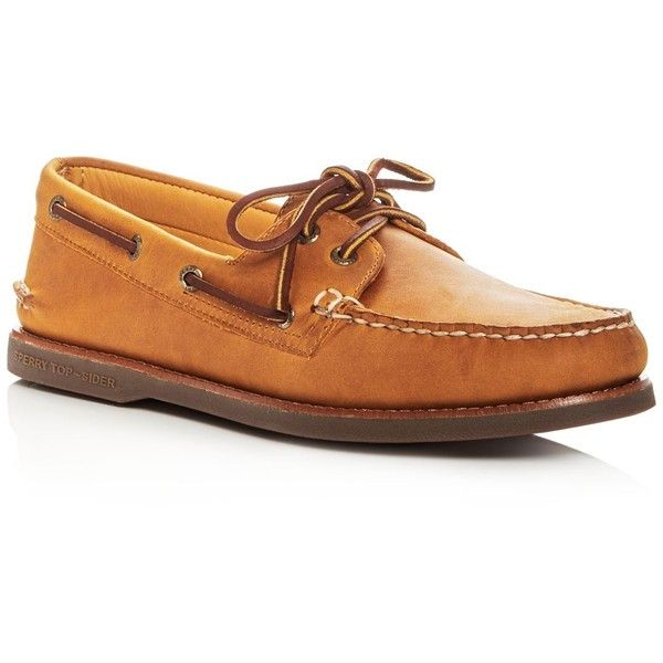 Sperry Men's Gold Authentic Original Two Eye Leather Boat Shoes ($160) ❤ liked on Polyvore featuring men's fashion, men's shoes, men's loafers, mens deck shoes, mens gold shoes, mens sperry topsiders, mens leather deck shoes and mens shoes